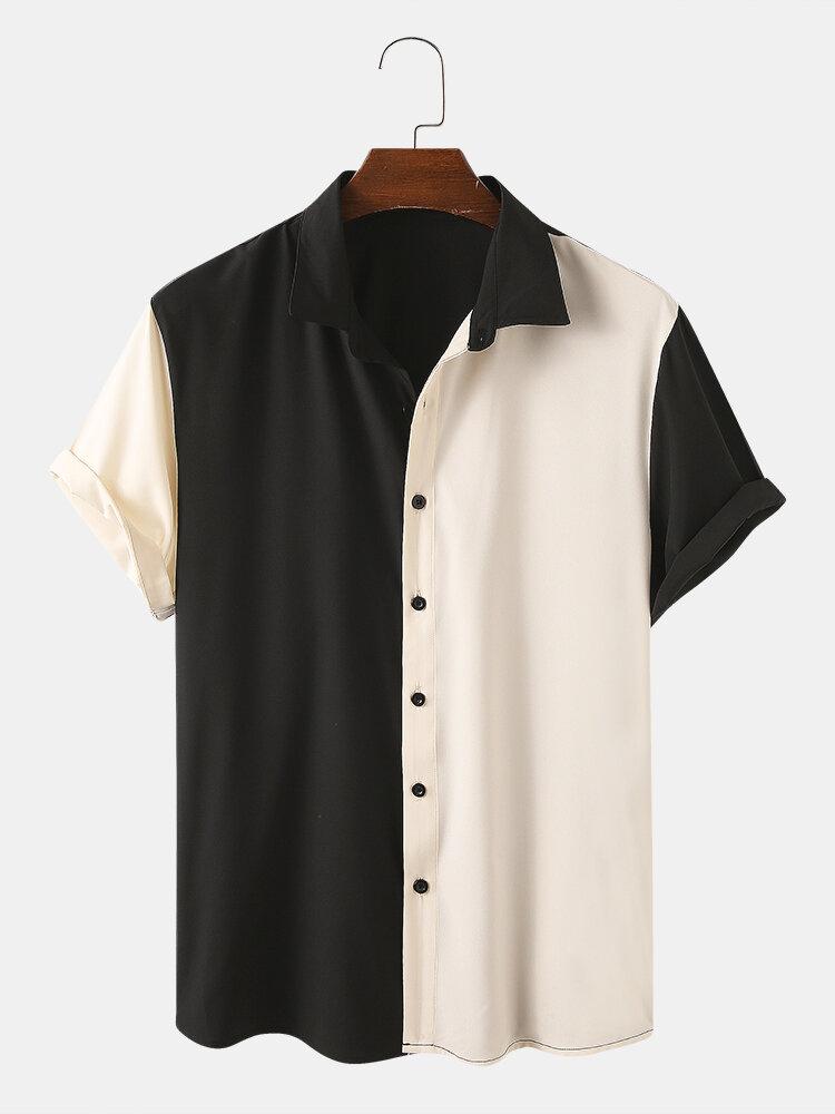 Men Designer Solid Color Patchwork Short Sleeve Casual Shirts