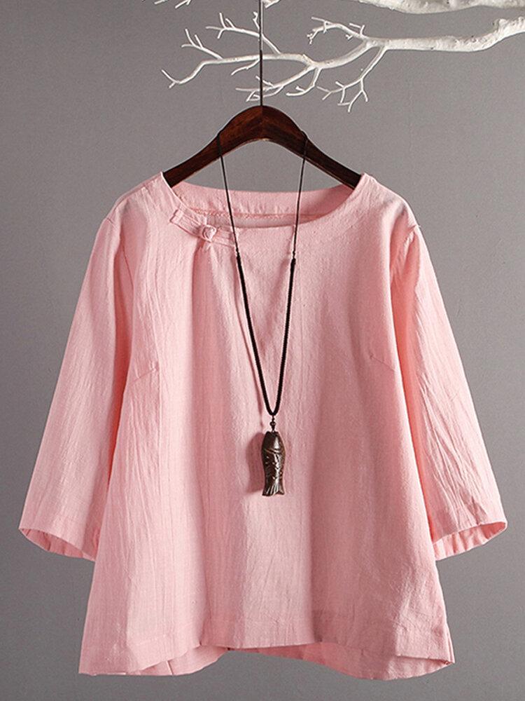 Women Solid Crew Neck Buttons Retro Cotton Blouse, ZANZEA  - buy with discount