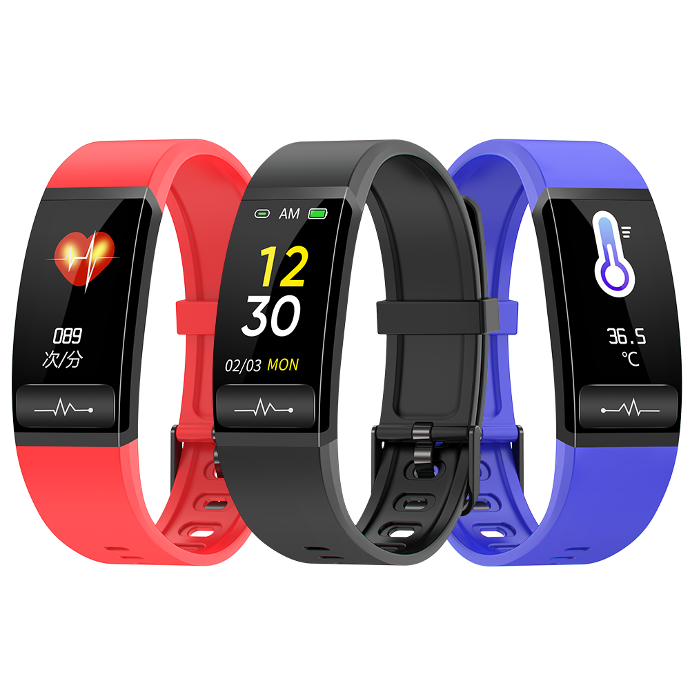 [Body Temperature Monitor]Bakeey M8 ECG+PPG Heart Rate Blood Pressure SpO2 Monitor Wristband USB Charging Smart Watch