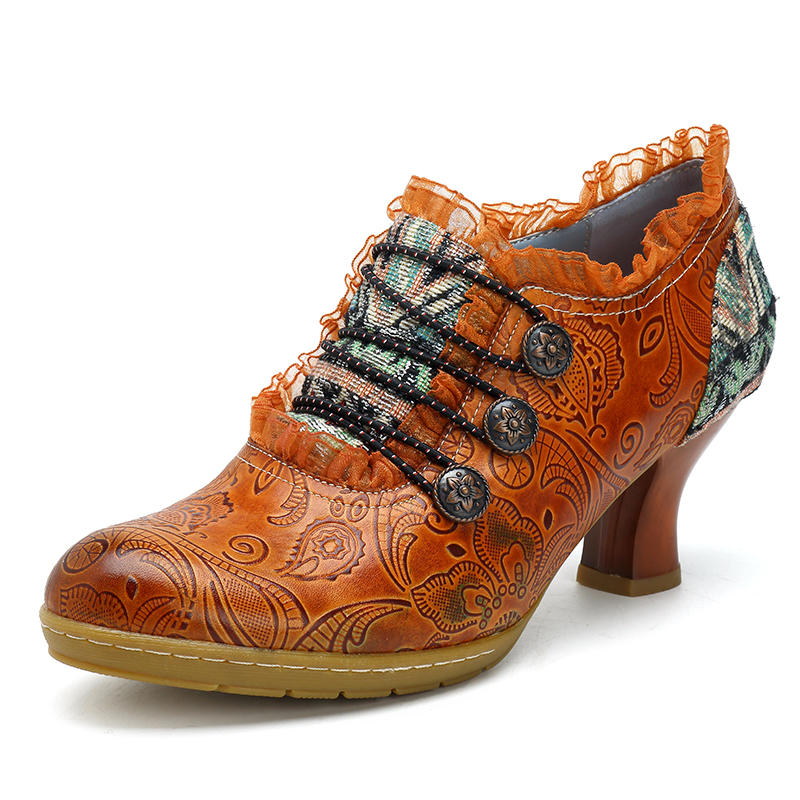 SOCOFY Retro Classic Buckle Printing Splicing Mid Heel Shoe Leather Pumps