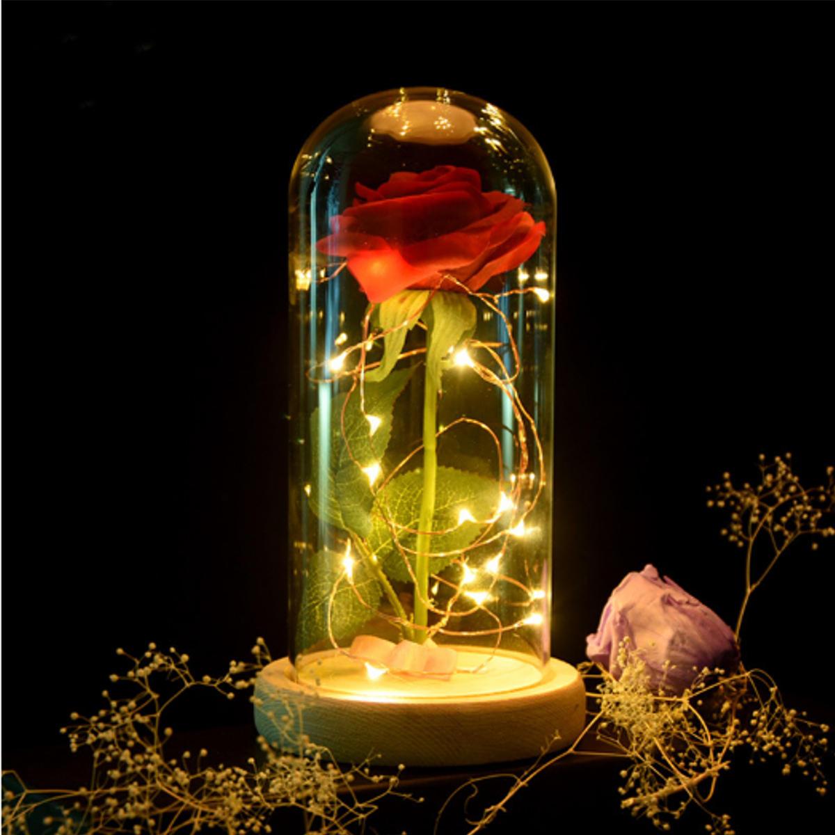 Đèn trang trí hoa hồng đỏ Làm đẹp mê hoặc được bảo quản Màu đỏ tươi Hoa hồng thủy tinh với đèn LED