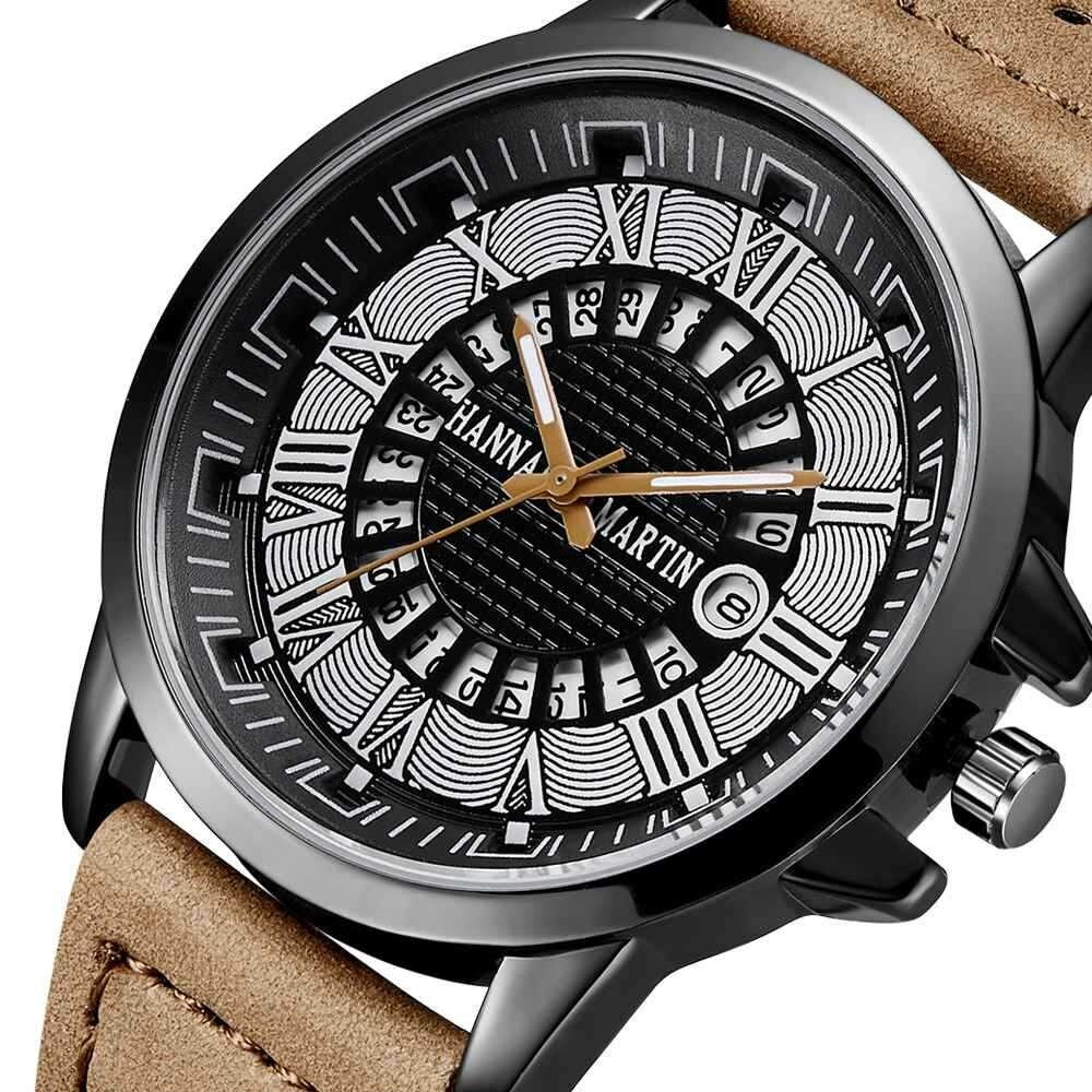 Fashion Casual Roman Numerals Creative Dial Date Display Leather Strap Men Quartz Watch, Banggood  - buy with discount