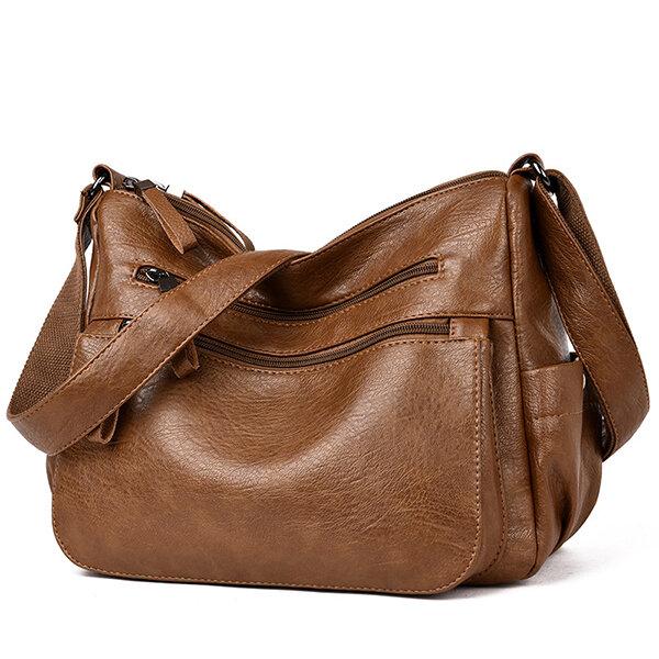 Women Soft Faux Leather Solid Hobos Crossbody Bag Multi-Slot Shoulder Bag