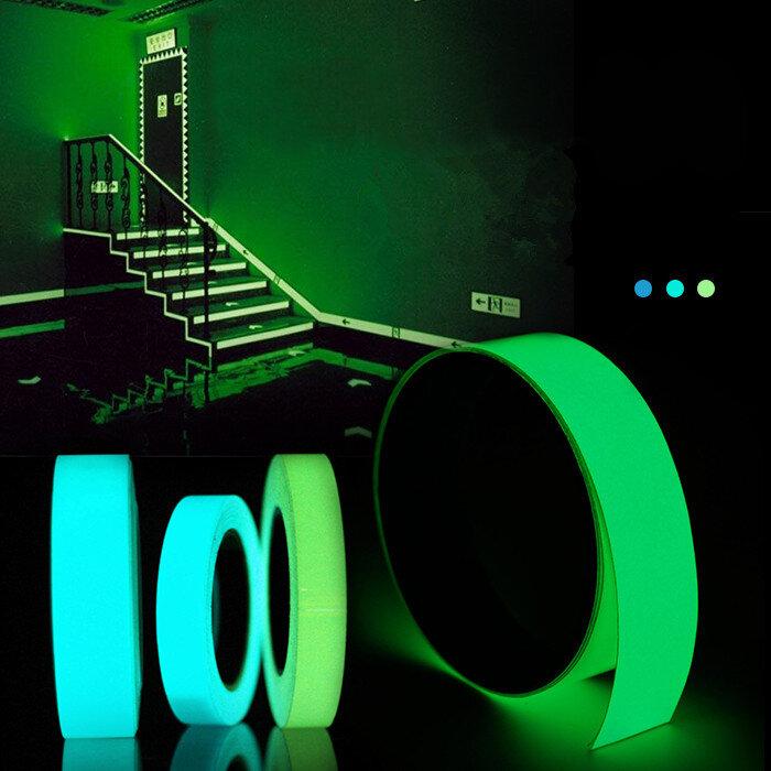5mx15mm Fita Luminosa Auto-adesiva Etiqueta da Decoração do Estágio Segurança Verde Azul Brilhando no Escuro