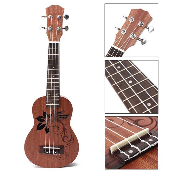 21 Inch Soprano Ukulele Uke Sapele 15 Frets Musical Instrument Flower