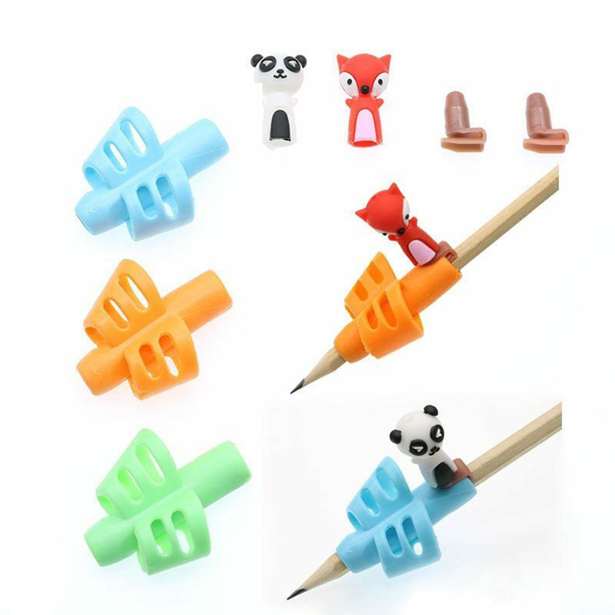 Two-Finger Grip Silicone Baby 3pcs Learning Writing Tool Writing Pencil