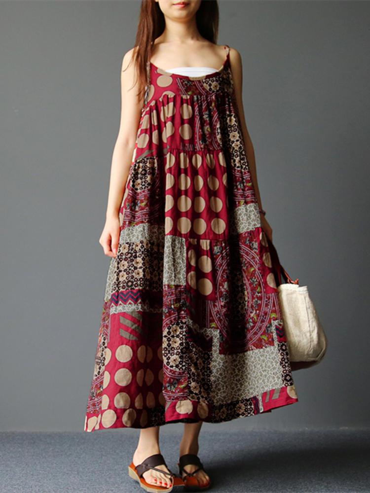 Bohemian Spaghetti Strap Floral Retro Loose Maxi Dress
