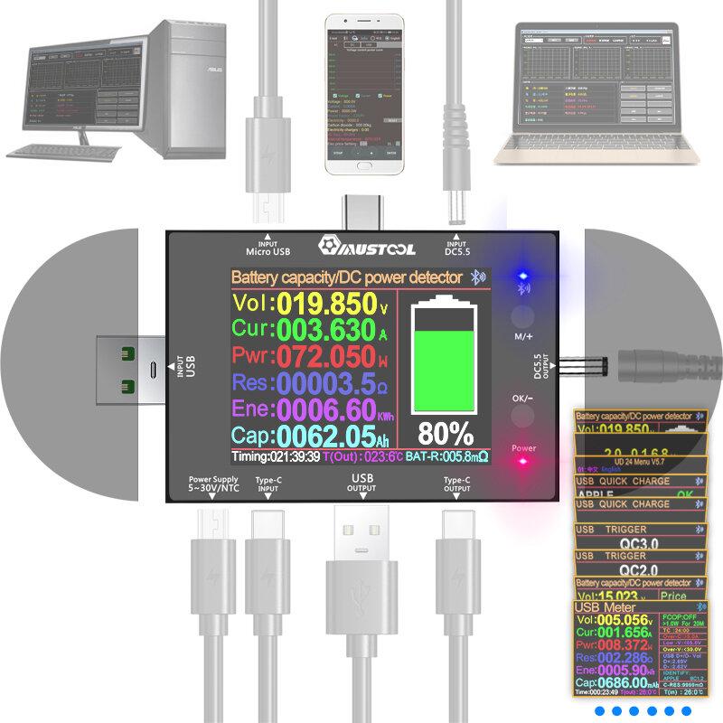 Картинка - MUSTOOL UD24 5 В ~ 32 В DC5.5 USB-тестер 2,4 дюймов Type-C Цифровой вольтметр Амперметр Power Bank Детектор напряжения В