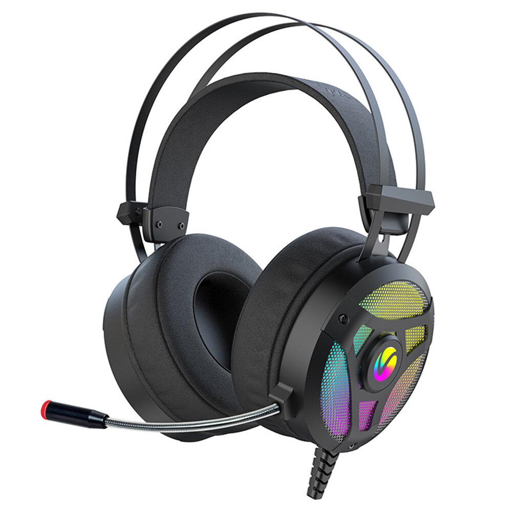 W.Hunter G300M Gaming Headset 7.1 Virtual Surround Sound 50mm Driver Unit RGB Light Powerful Bass Noise Reduction Mic fo