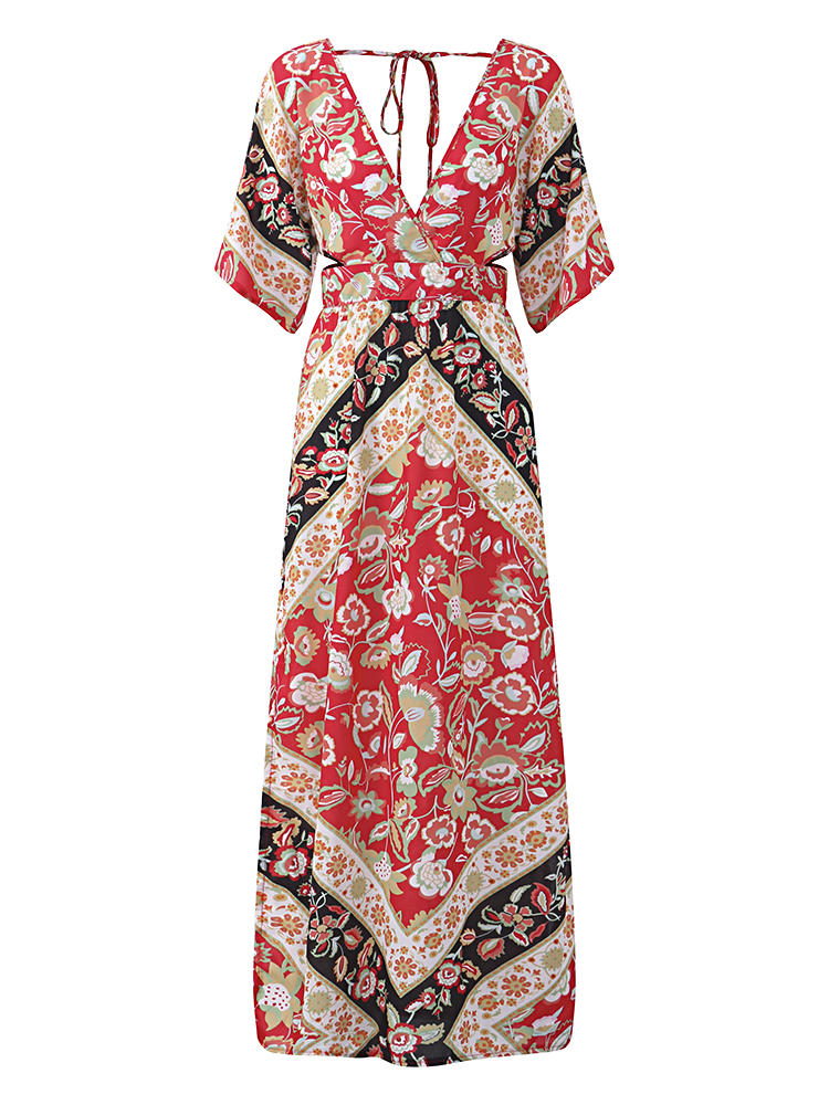 favorable price modern design great variety styles Bohemian Sexy Deep V-neck Backless High-Slit Floral Maxi Dress For Women