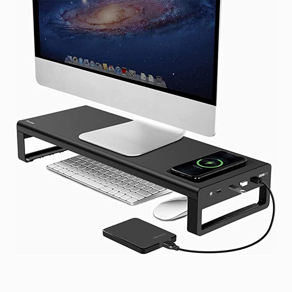 USB 3.0 Wireless Charger and Fast Charge Base Aluminum Smart Base Laptop Stand Alloy Computer Laptop Base Stand Port Charger Stand Monitor Bracket Desk