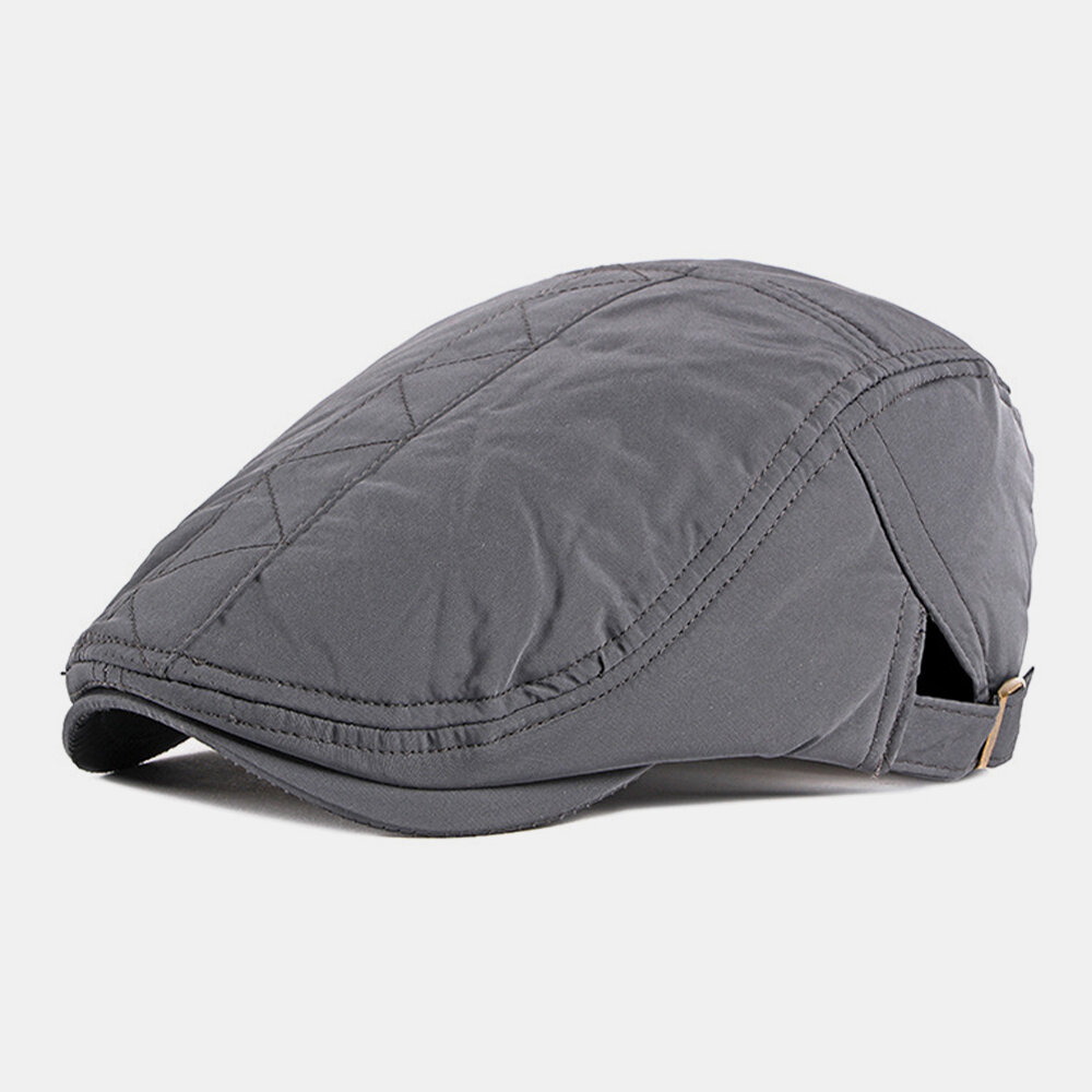 Men Cotton Plus Thicken British Style Solid Color Outdoor Casual All-match Forward Hat Beret Hat