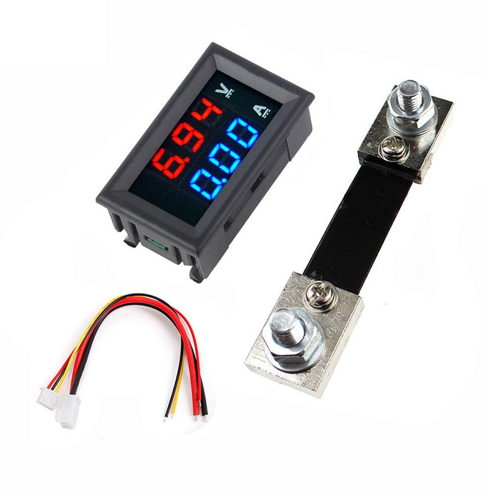 """0.56"""" Blue Red Dual LED Display Mini Digital Voltmeter Ammeter DC 100V 100A Panel Amp Volt Voltage Current Meter Tester"""