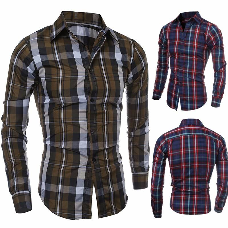 Men Fall Spring Polyester Plaid Long Sleeve Buttons Turn-down Callor Shirt