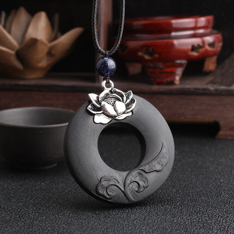 Vintage Lotus Ebony Wood Necklace Hallow Round Shape Necklace Long-Style Sweater Necklace For Women