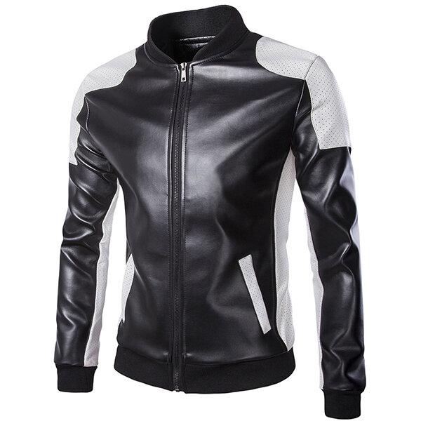 Hombres PU Cuero Moda Blanco Negro Costura Moto Biker Chaqueta De Béisbol Collar