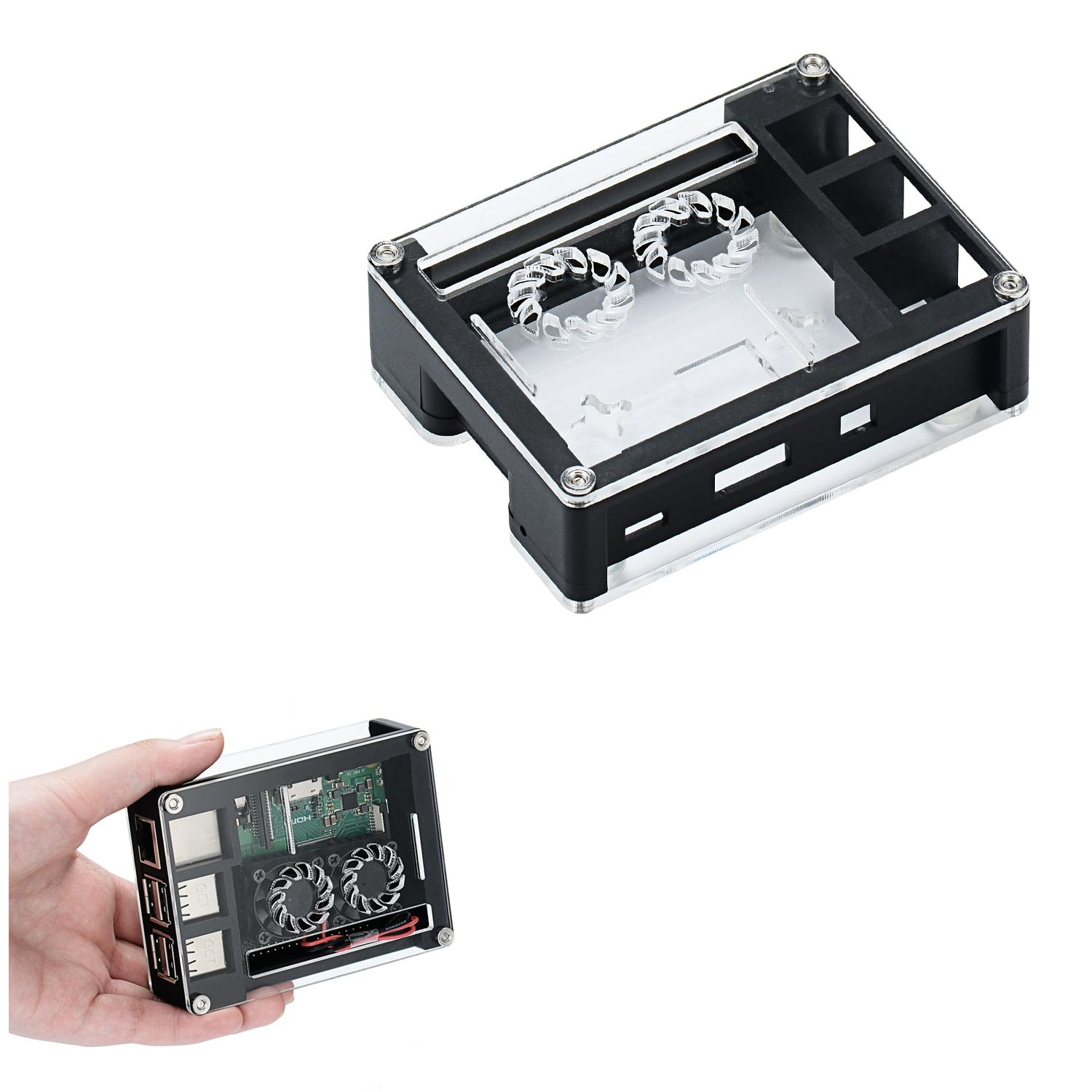 Black Acrylic Case Support Dual Cooling Fans For Raspberry Pi 3B+ Board