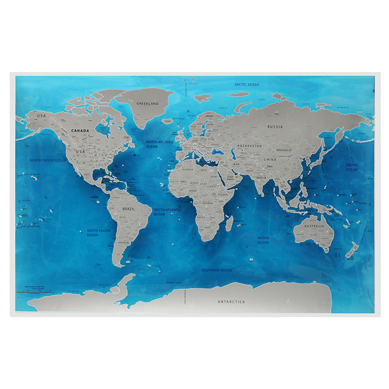 Travel World Scratch Map Ocean Scratch Off Foil Layer Coating World Deluxe  Scratch Map 59.4x82.5CM