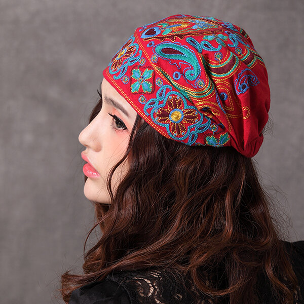 Women Navy Vintage Beanie Hat Ethnic Embroidery Flowers Slouch Cotton Skullcap Cap