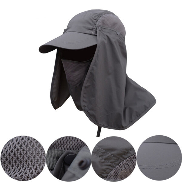 e0f33717 Mens Quick Dry Neck Cover Sun Fishing Hat Ear Flap Bucket Outdoor UV  Protection Cap