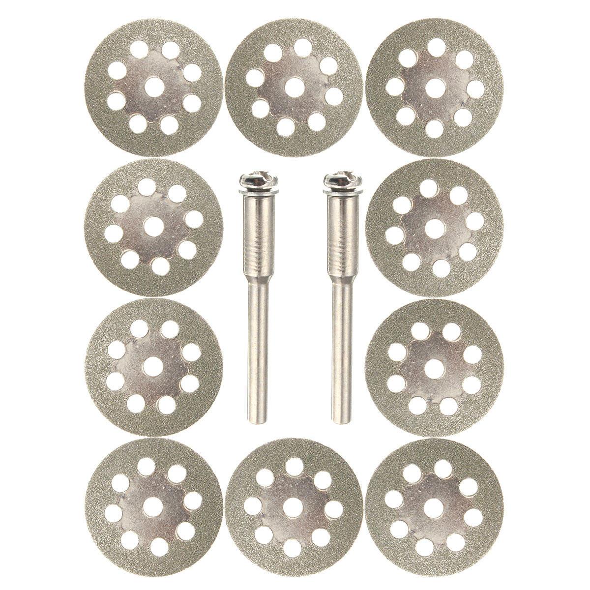 10pcs 22mm Diamond Coated Saw Blade 9 Holes Cutting Discs with 2pcs Mandrel for Dremel