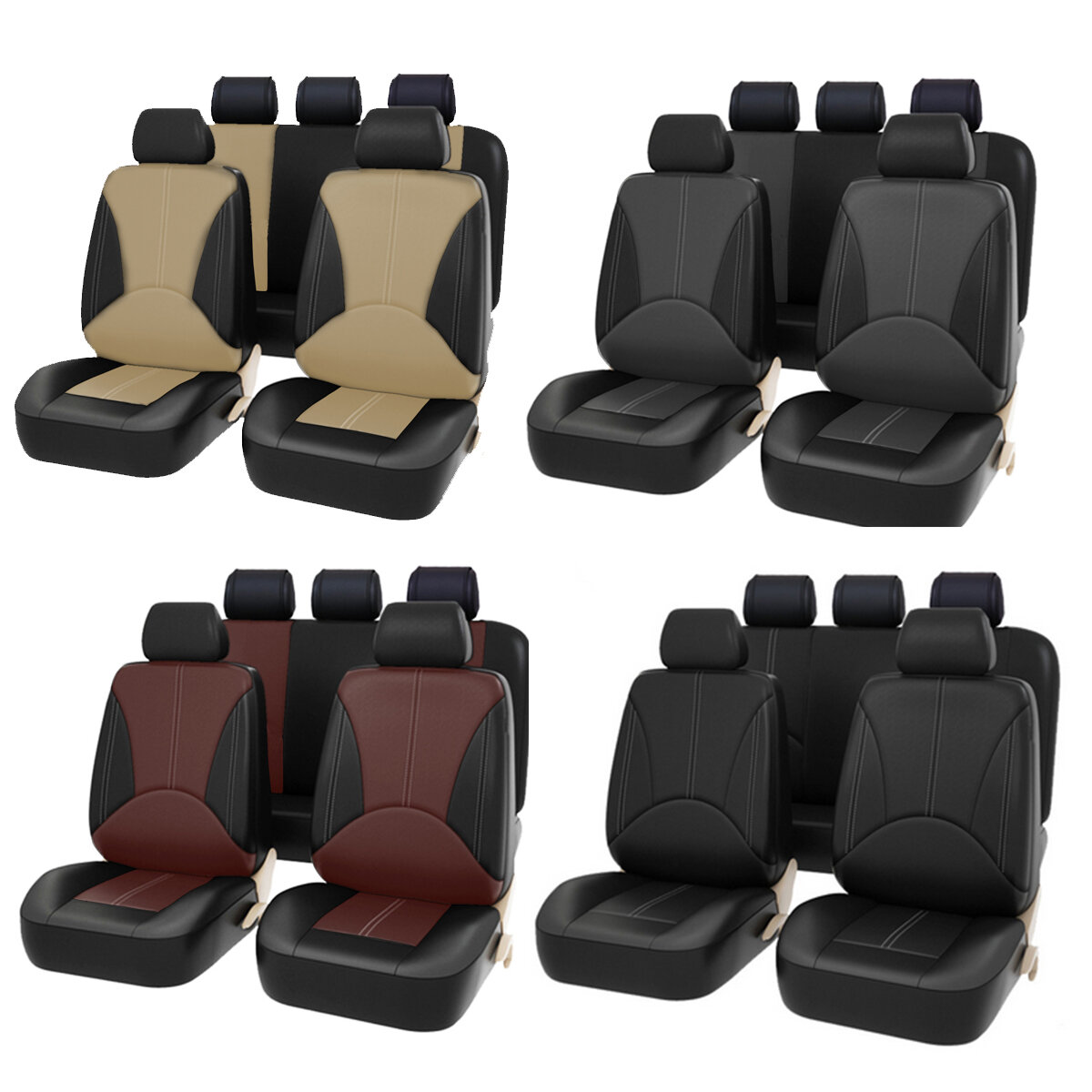 Bucket Seat Cover Set Front Rear Universal for Car Sedan Truck SUV PU Leather, Banggood  - buy with discount