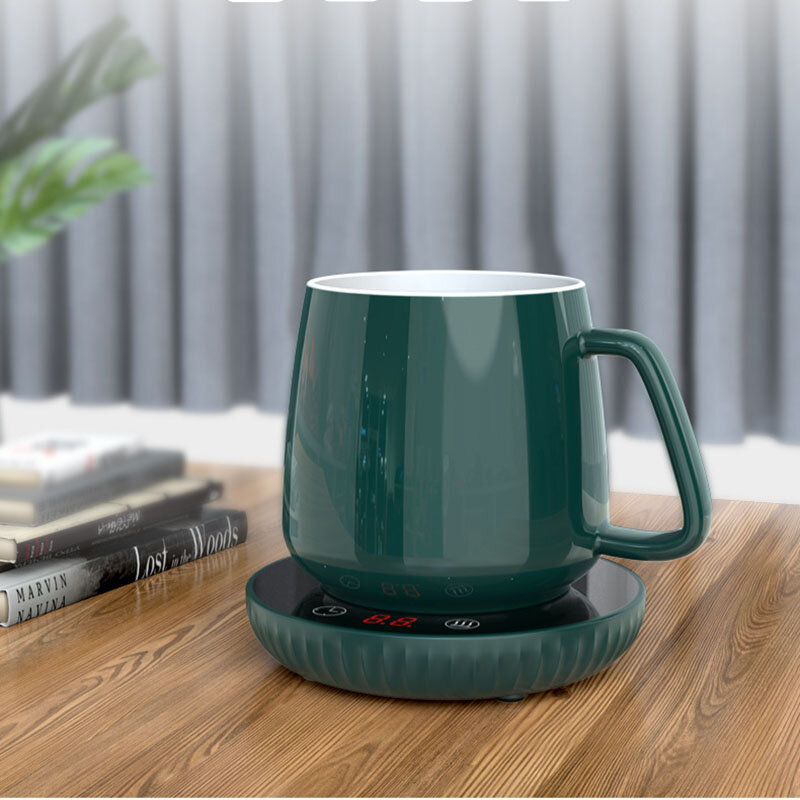 Loskii A202 55℃ Constant Temperature Cup Heating Mat 18W Two Gear Digital Display Electric Tea Warmer 8H Automatic Power Off Protection for Home Office Travel