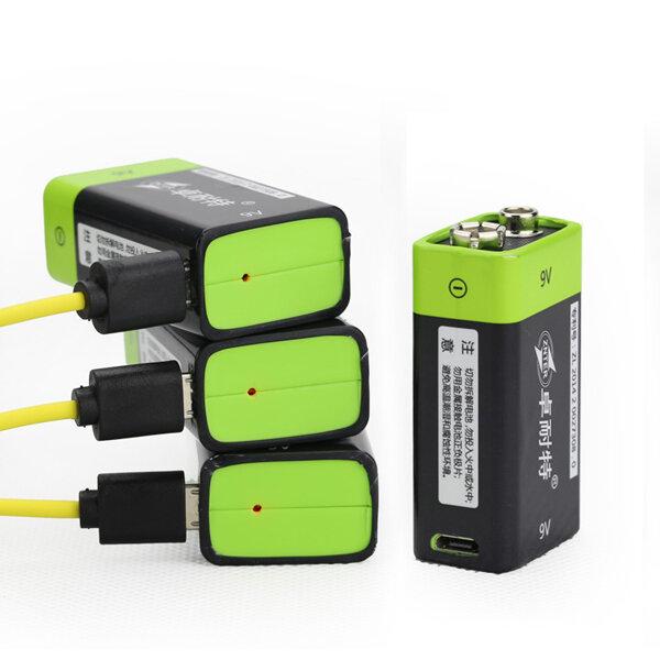 ZNTER S19 9V 400mAh USB Rechargeable 9V Lipo Battery