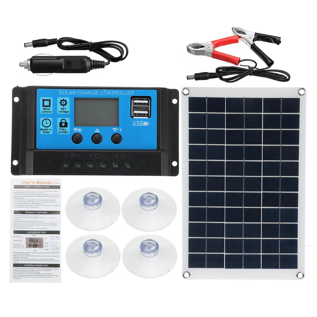 Banggood coupon: Kit de painel solar 100 W 12V Bateria Carregador 10-100A LCD Controlador para barco com van de caravana