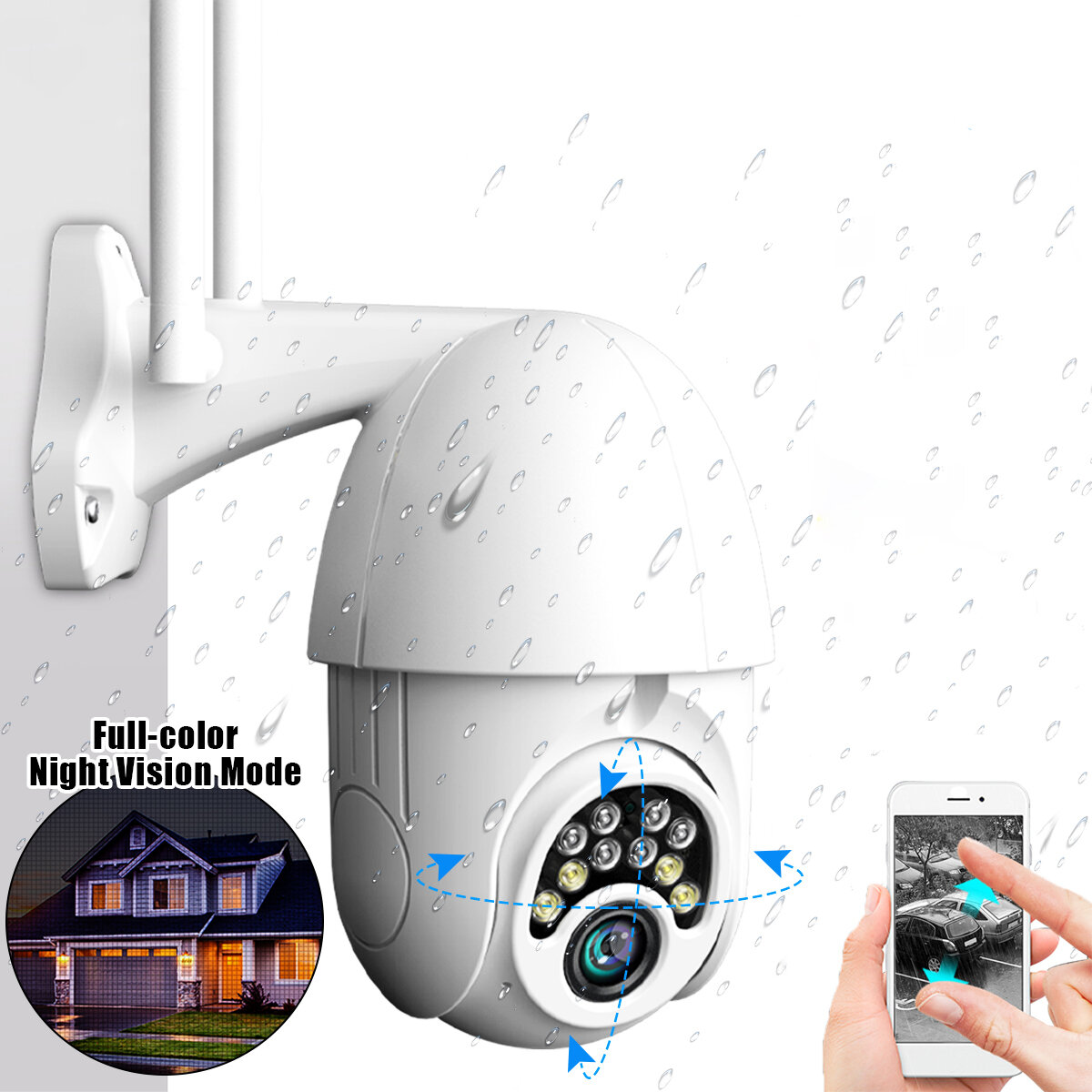 10LED 5X Zoom HD 2MP IP Security Camera WiFi Wireless 1080P Outdoor PTZ Waterproof Night Vision ONVIF