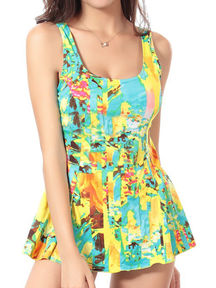 SWIMMART Cosy Sleeveless Floral Printed Elastic Swimwear Wireless Backless Bathing Suits