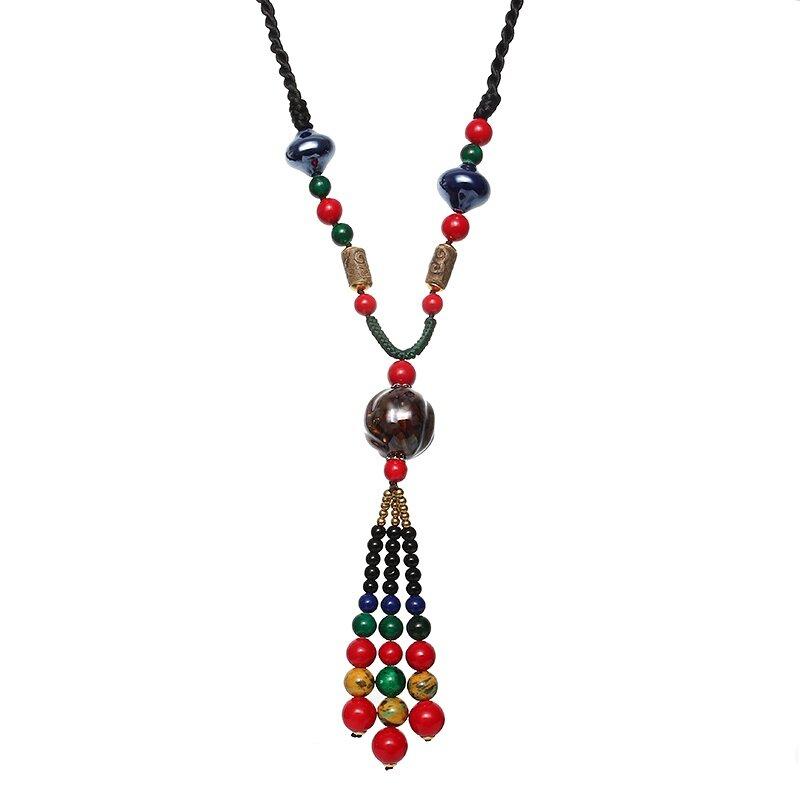 Étnica Collar De Perlas Collar De Madera Cerámico Long Mujer Collar
