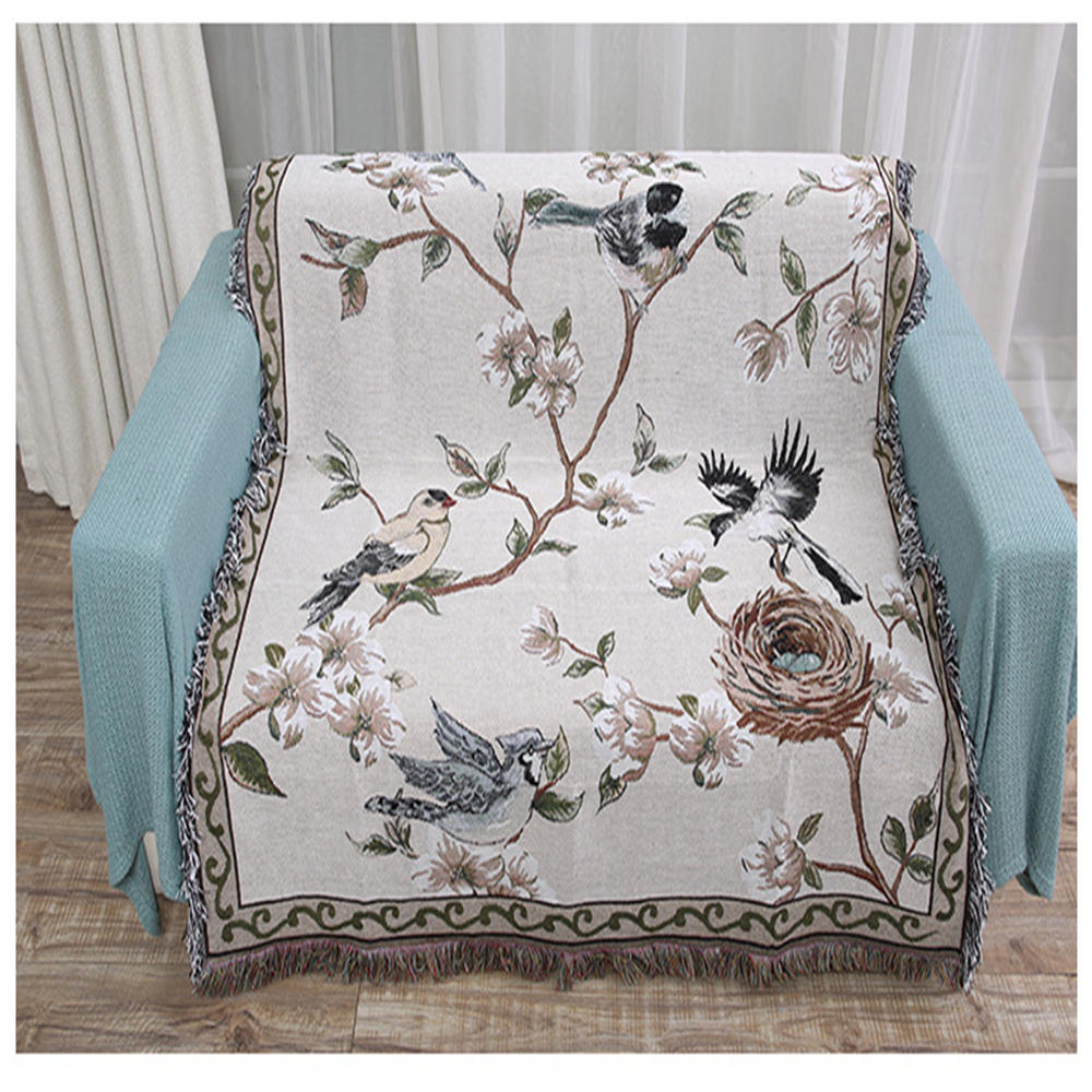 Awe Inspiring Flowers And Birds Cotton Blankets Knitted Multi Function Thread Blanket Beds Couch Floor Mat Tablecloth Decorative Sofa Blankets Forskolin Free Trial Chair Design Images Forskolin Free Trialorg