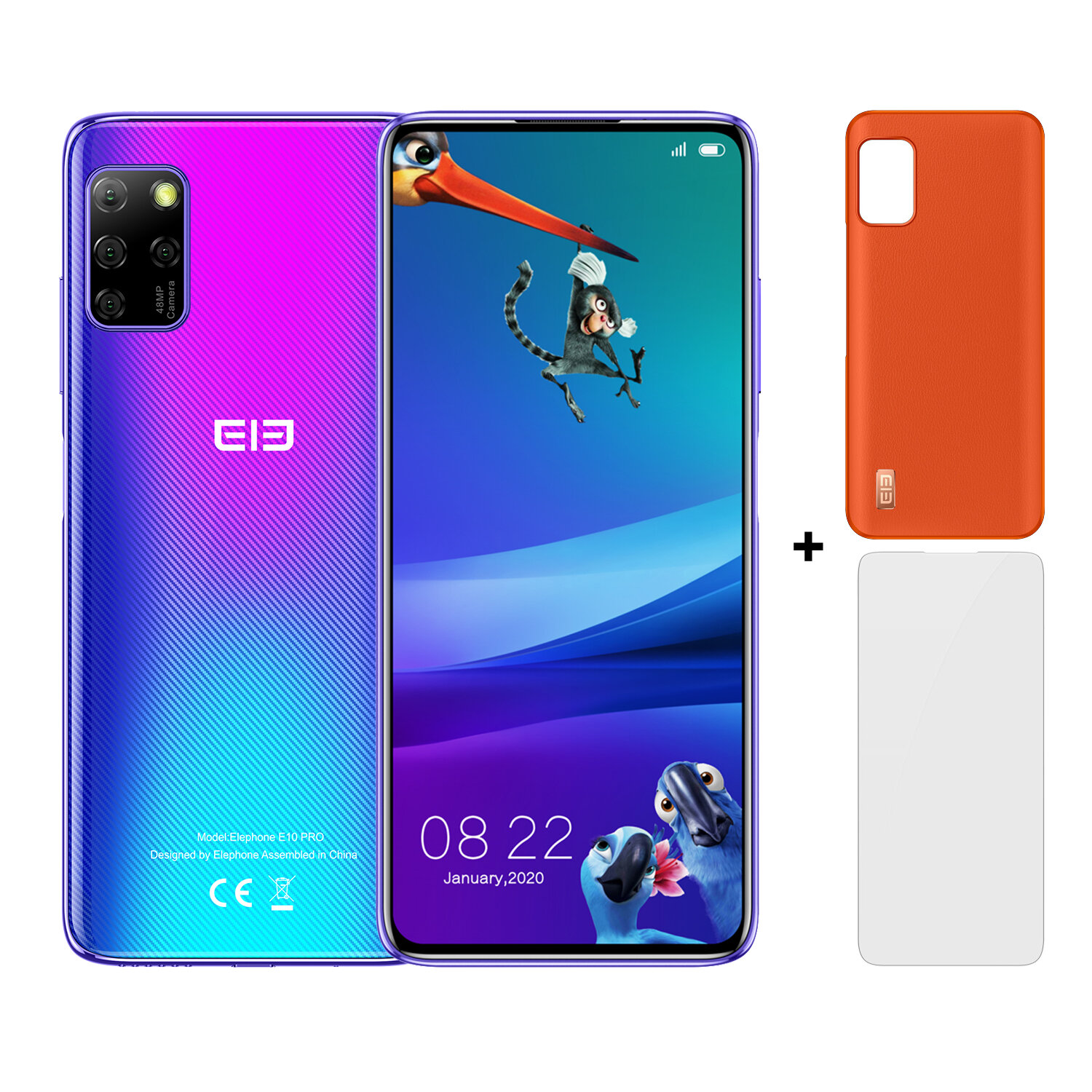 ELEPHONE E10 Pro Add Accessory Global Version 6.55 inch Punch-hole Screen NFC Android 10.0 4000mAh 48MP Quad Rear Camera 4GB 128GB MT6762D 4G Smartphone