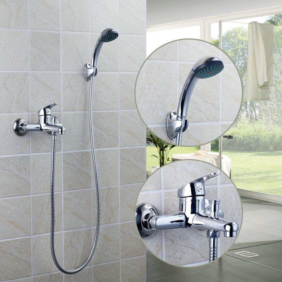 Chrome Wall Mounted Bathroom Bathtub Shower Faucet Set Mixer With Hand Sprayer