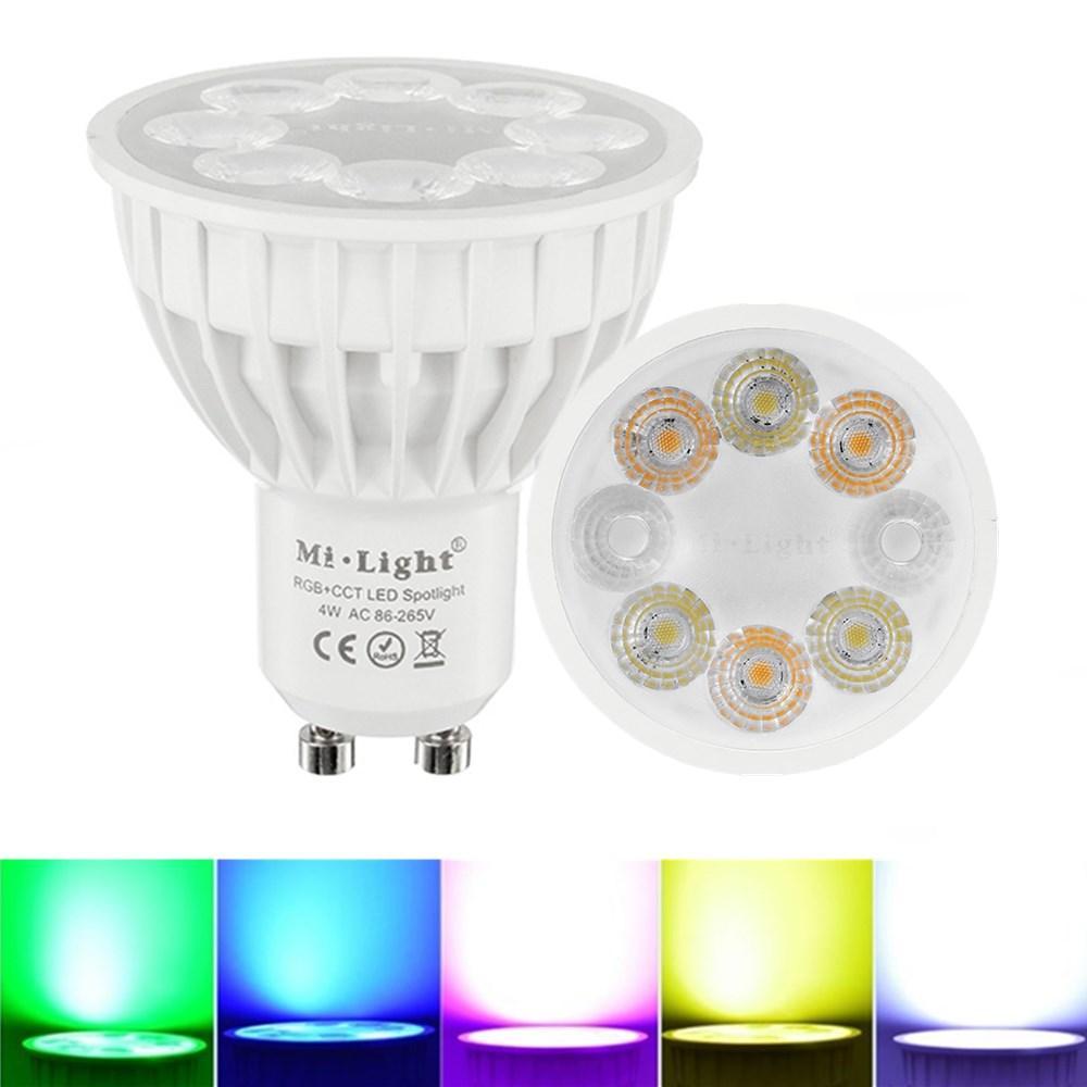 Dimmbare GU10 4W Mi Light 2.4G Wireless RGBCCT LED Spot Lightt Lampe Glühlampe AC86-265V