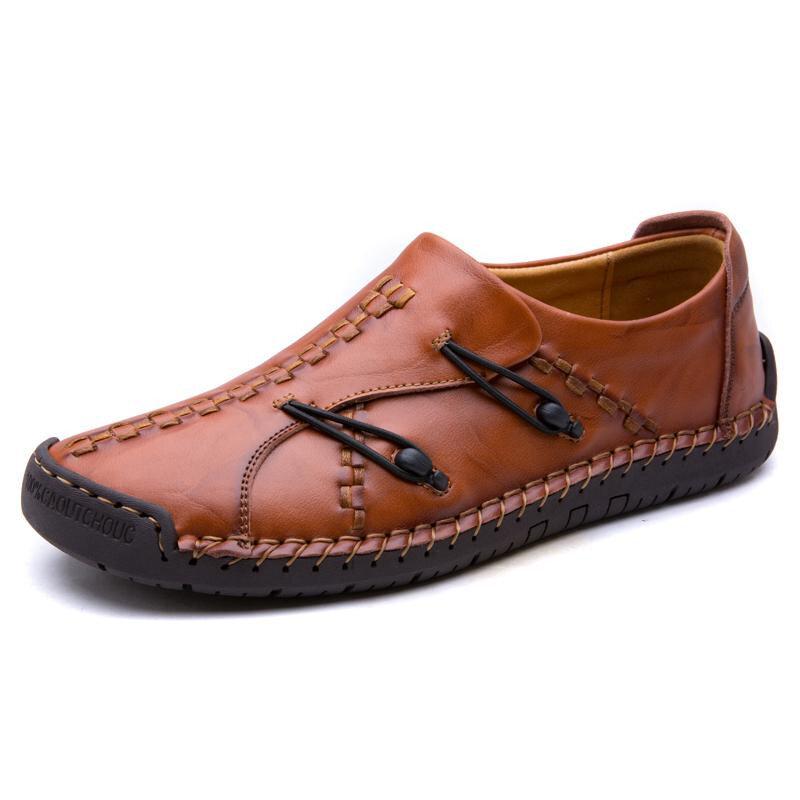 Hombres cómodos Piel Genuina Soft Zapatos de Oxford de costura de mano única