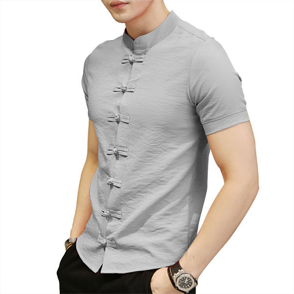 a0413f9b7ea Chinese Knot Buckle Vintage Chic Mandarin Collar Short Sleeve Pure Color  Shirts for Men - White S COD