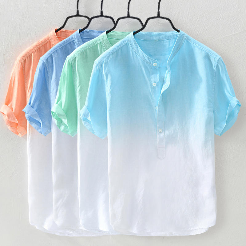 Mens Gradient Color Summer Cotton Breathable Loose Casual T-shirts