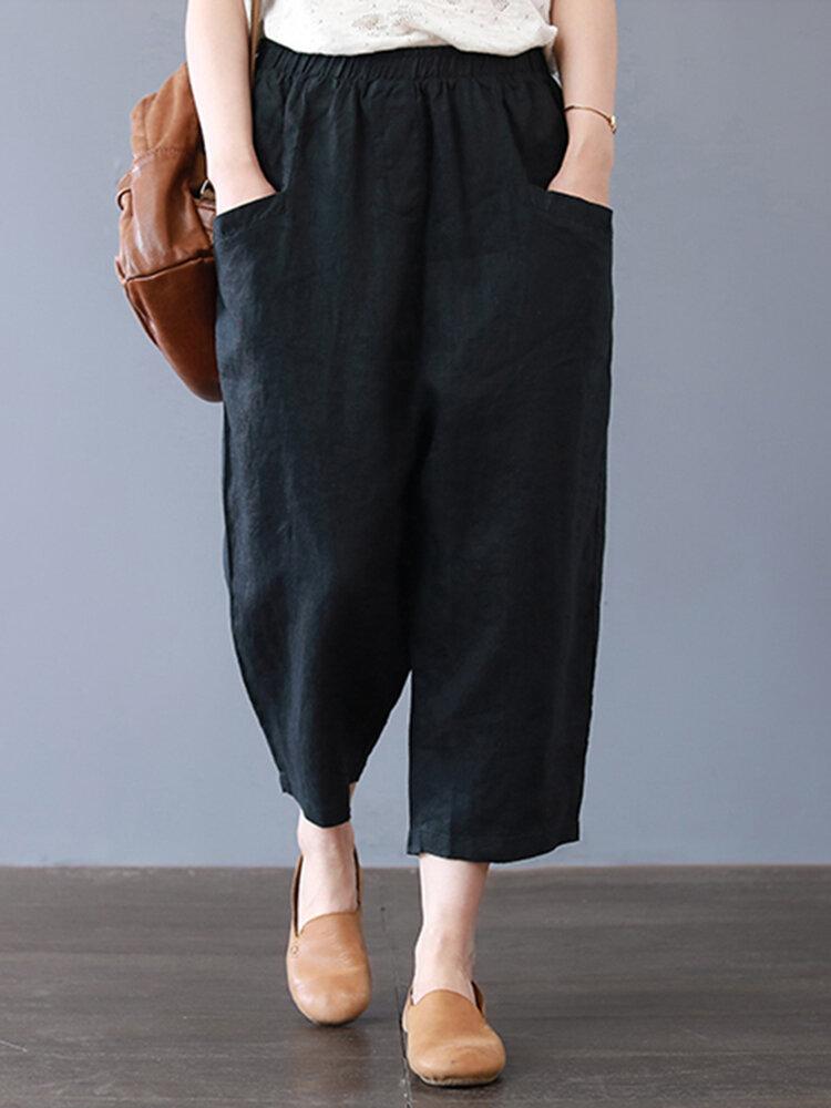 Plus Size Women Cotton Loose Harem Pants with Pockets