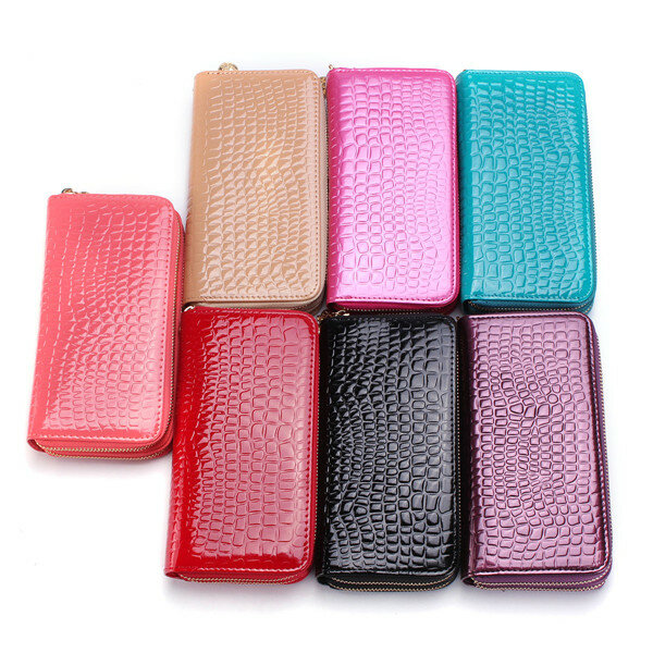 8b1d8ff754d7 Women Crocodile Clutches Ladies Patent Leather Long Wallet Elegant Double  Zipper Purse Card Holder Phone Bags