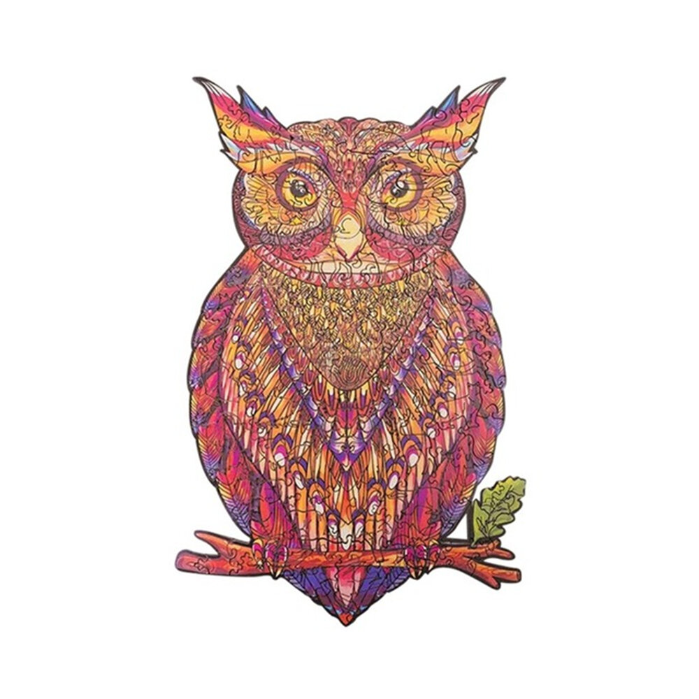 A3/A4/A5 Wooden 3D Owl Pattern Puzzle Colorful Mysterious Charming Early Education Puzzle Art Toys Gifts for Childrens A