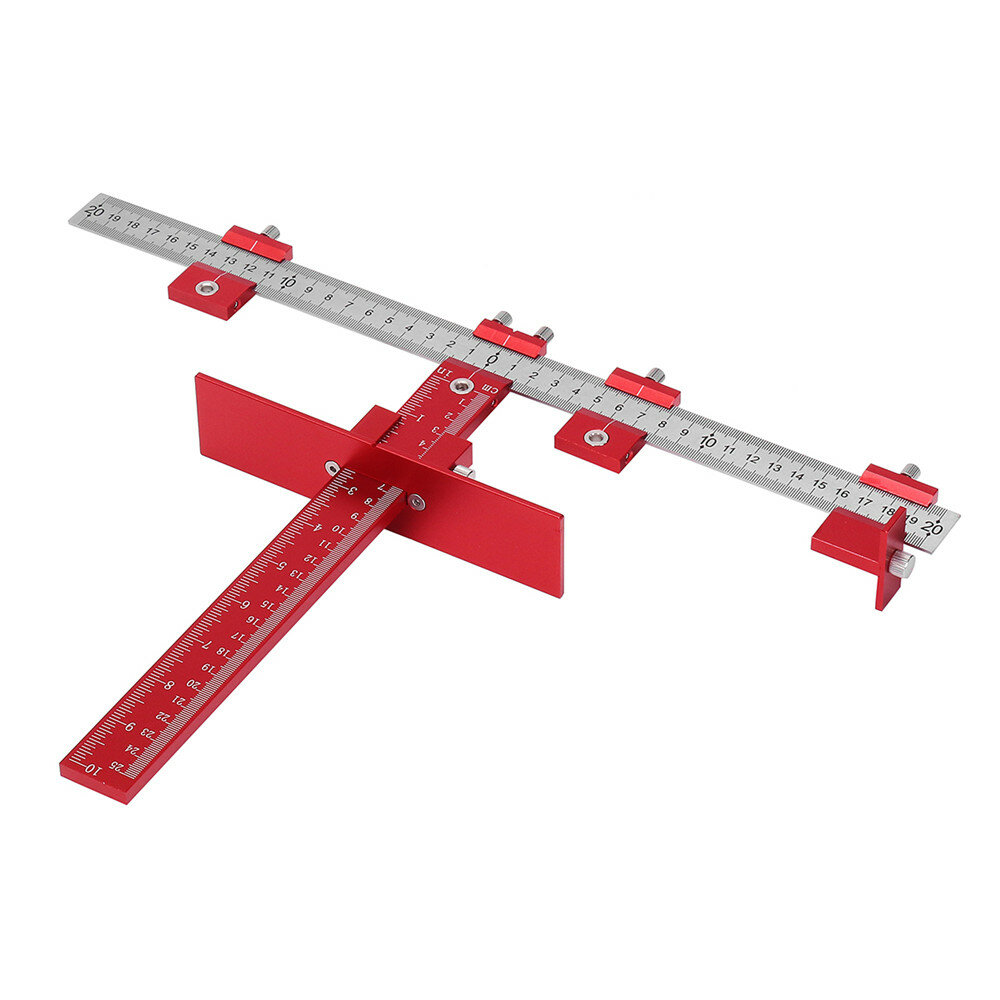 Drillpro Red Aluminum Alloy Metric/Inch Cabinet Hardware Jig 5mm Drill Guide Cabinet Handle Template Jig