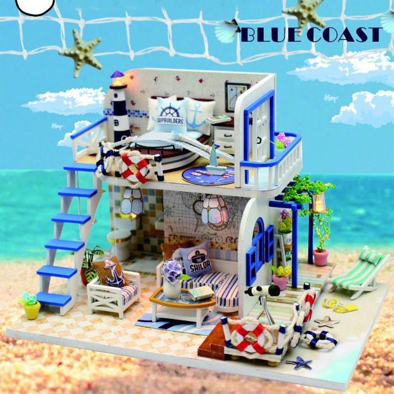 Hoomeda DIY Wooden Doll House Blue Ocean Coast Miniature Furniture Music Light Gift Decoration