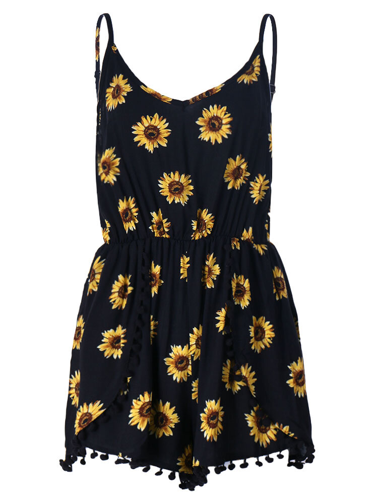 Sexy Vintage Strap Women Sunflower Printed Shorts Pants Rompers Jumpsuit