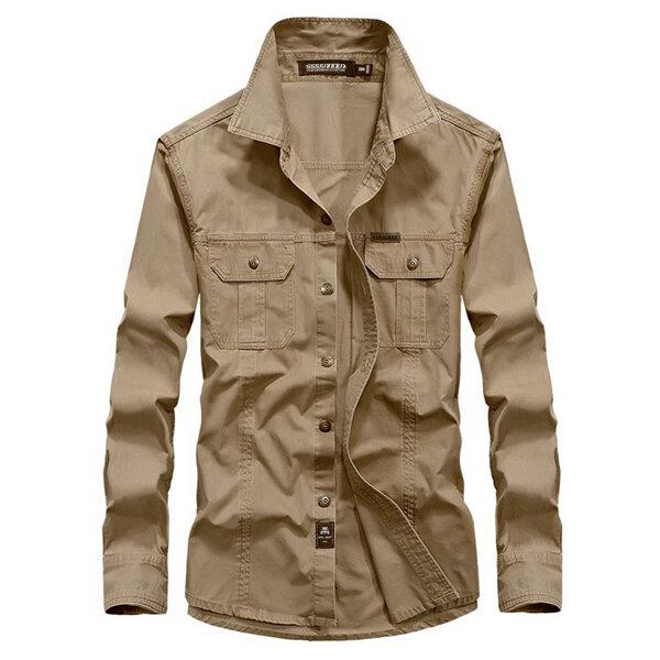 Plus Storlek S-4XL Militär Anti Crease Outdoor Solid Color Casual Långärmad Bomullskjorta