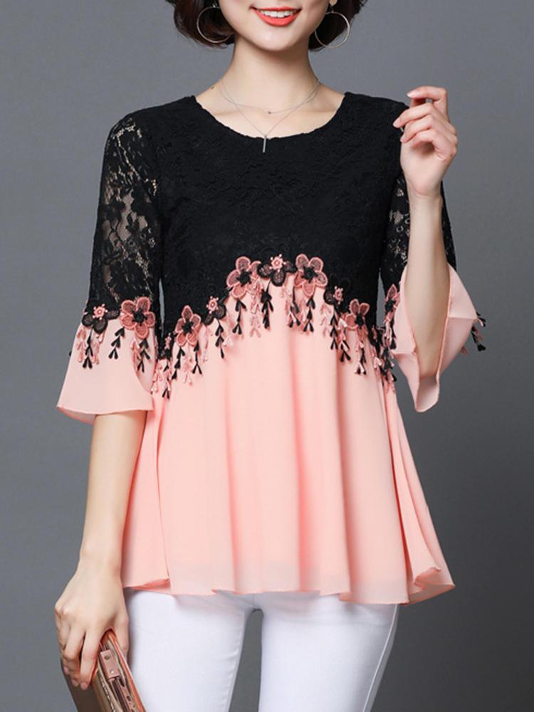 Elegant Lace Patchwork Half Sleeve Women Blouse
