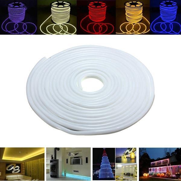 15M 2835 LED Flexible Neon Rope Strip Light Xmas Outdoor Waterproof 220V