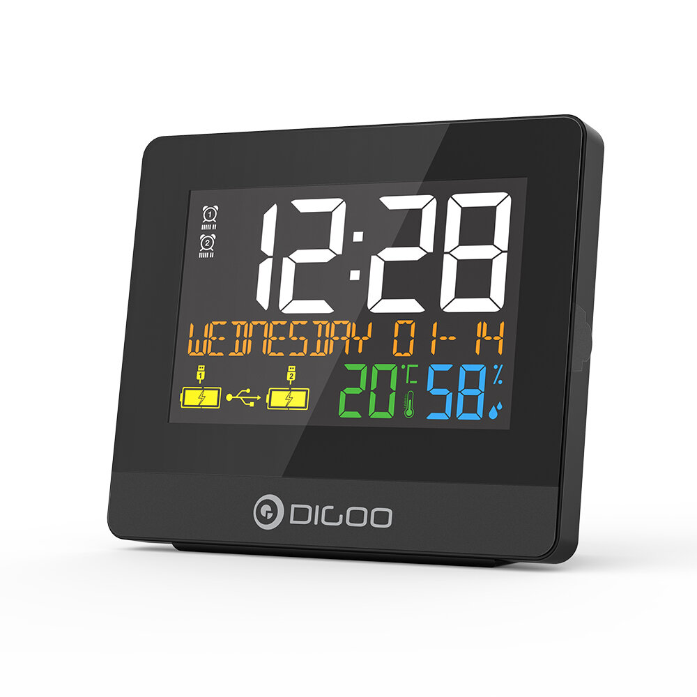 DIGOO DG-8291 Dual USB Charging Port Alarm Clock Hygrometer 10W Phone Charger Snooze NAP Countdown Desktop Decorative Cl