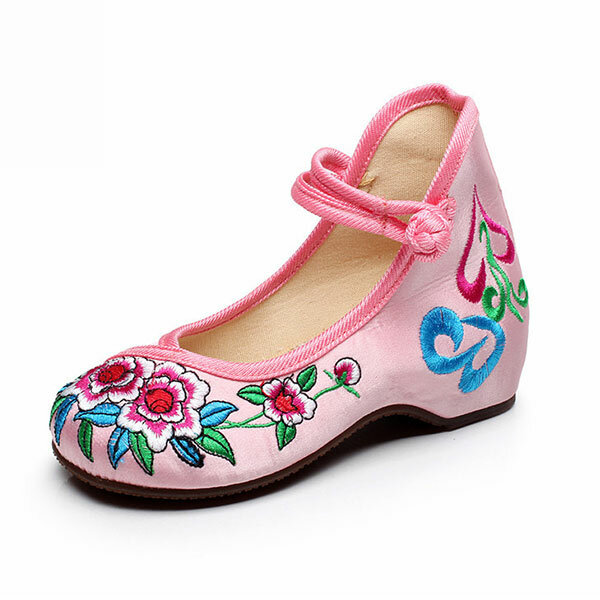 Mary Janes Girls Chinese Embroidered Cotton Shoes Colorful Silk Dancing Flat Cloth Loafers Casual